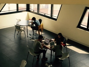 Students studying / discussing / finishing assignments
