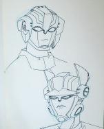 Portrait of Cisswap!Arcee and Optimus Prime