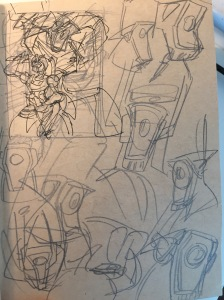 First Sketch, complete with ref sketches of Shockwave's head
