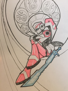 Colouring on sword and character